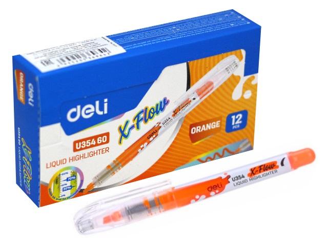 Маркер текстовый Deli X-flow оранжевый скошенный 1-5мм EU35460