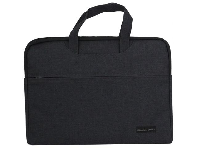 Портфель А4 текстиль Deli 1 отделение с карманом черный 5590black