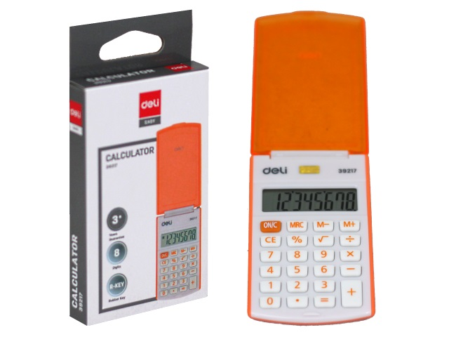 Калькулятор  8-разрядный Deli Easy 10*5см оранжевый E39217/OR