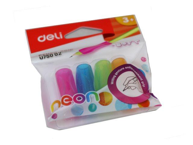 Держатели для ручек Deli Neon 4 шт. резиновые цветные EU75002\24 в пак