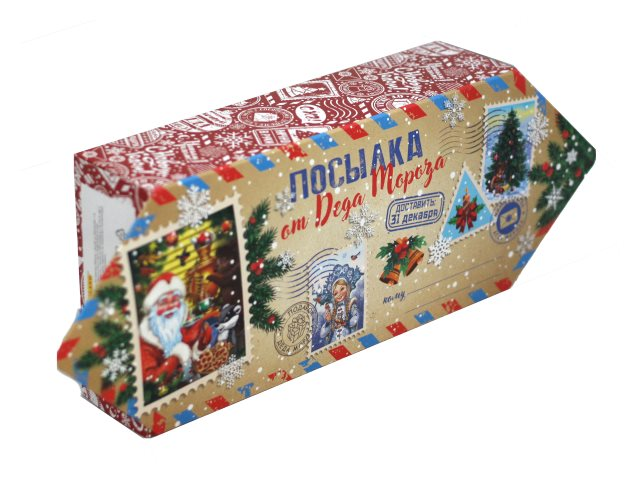 Коробка для конфет Конфета Посылка от Деда Мороза 700г Miland КК-1666