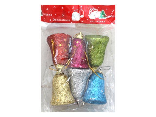 Ёлочная игрушка набор  6 шт. Разноцветные колокольчики 6см Miland НУ-8341