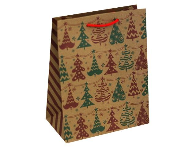 Пакет подарочный бумажный 18*23*10см крафт Разноцветные елочки ПКП-8896