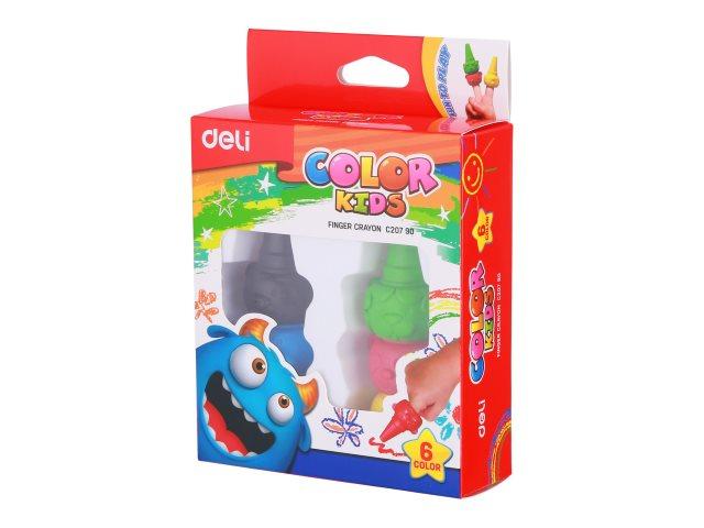 Мелки восковые  6цв Deli Color Kids пальчиковые EC20790