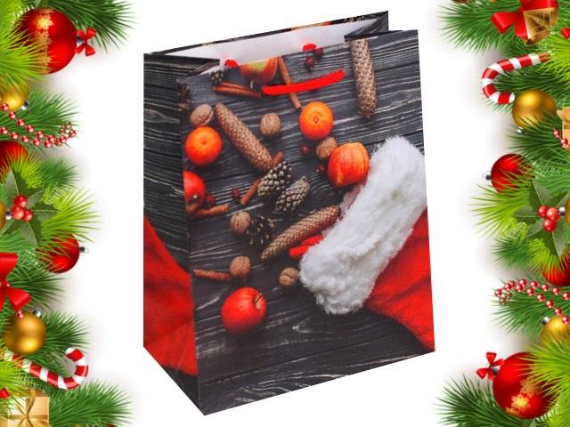 Пакет подарочный бумажный 18*23*10см Miland Новогодний носок с подарками ПКП-8858