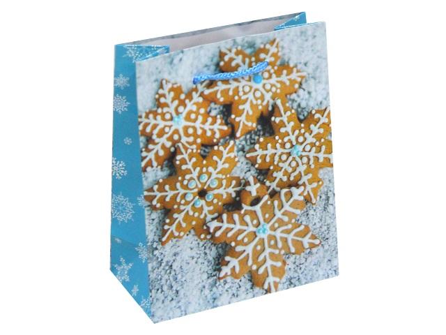Пакет подарочный бумажный 11.5*14.5*6см Miland Имбирные снежинки ПКП-8633