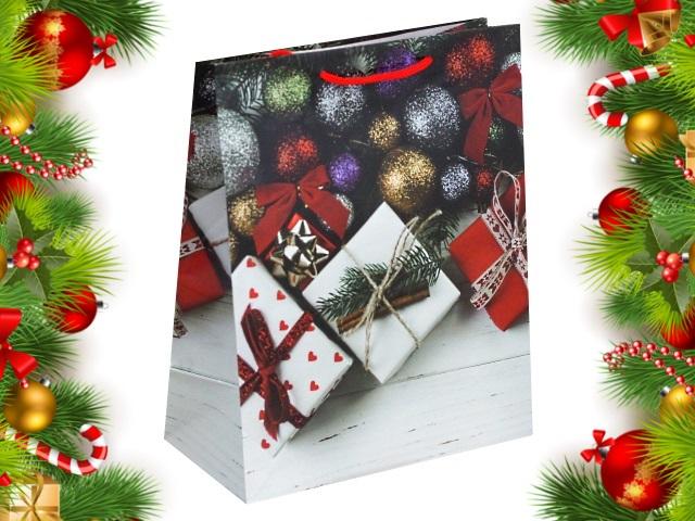 Пакет подарочный бумажный 26.4*32.7*13.6см Подарки и елочные шарики Miland ПКП-8870