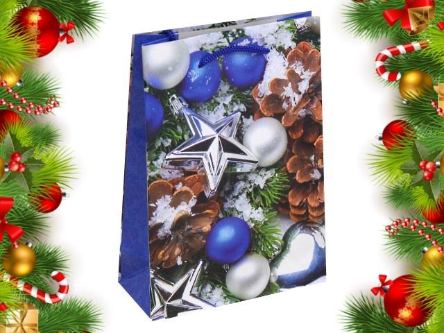 Пакет подарочный бумажный 14*20*6.5см Шишки и елочные шарики Miland ПКП-8883
