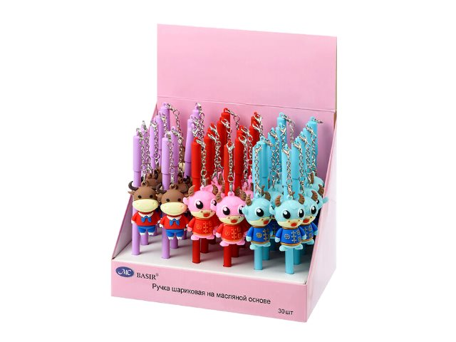 Ручка масляная детская Basir МС-5223 Бычок синяя 1мм