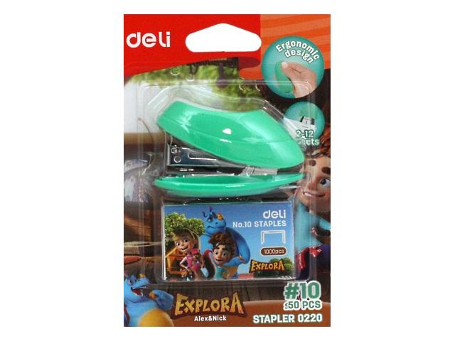 Степлер №10 15л мини Deli Explora пластик цветной + скобы E0220