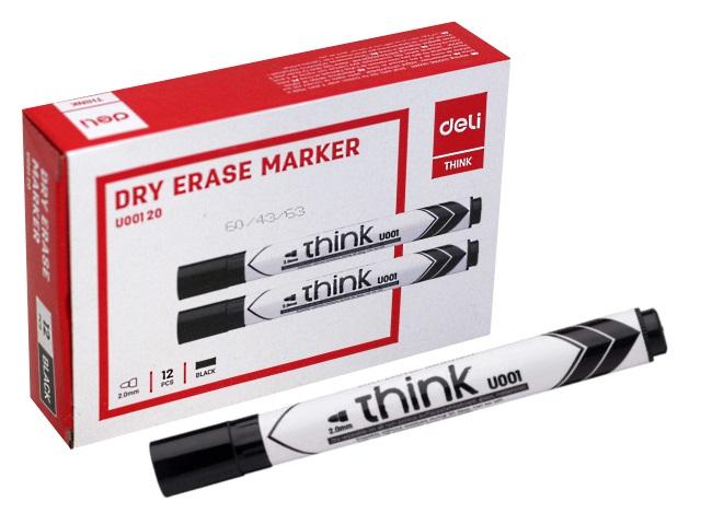 Маркер для досок Deli Think черный круглый 2мм EU00120