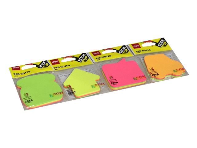 Стикер фигурный Deli Neon 4 цвета по 20л цветной EA03102