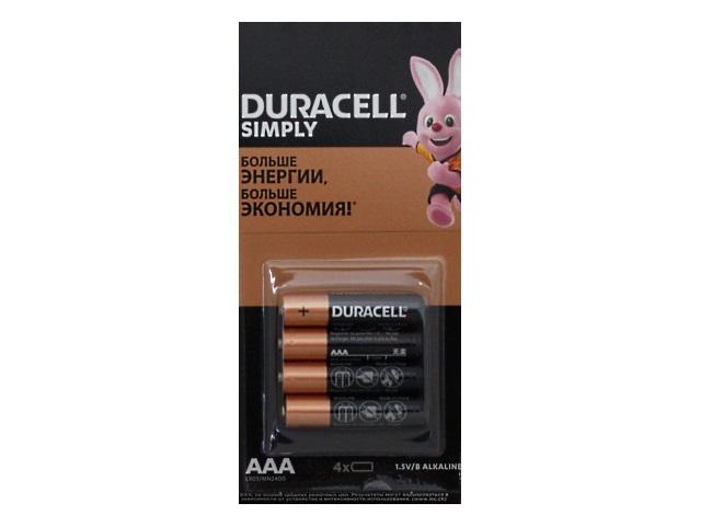 Батарейки минипальчиковые 4 шт. Duracell LR03 ААА щелочная MN2400