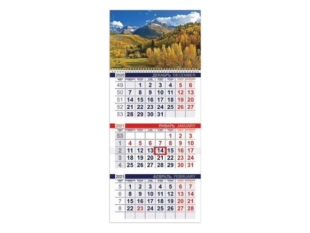 Календарь квартальный 2021 3-х блочный Hatber Осень в горах 3Кв1гр3_23491
