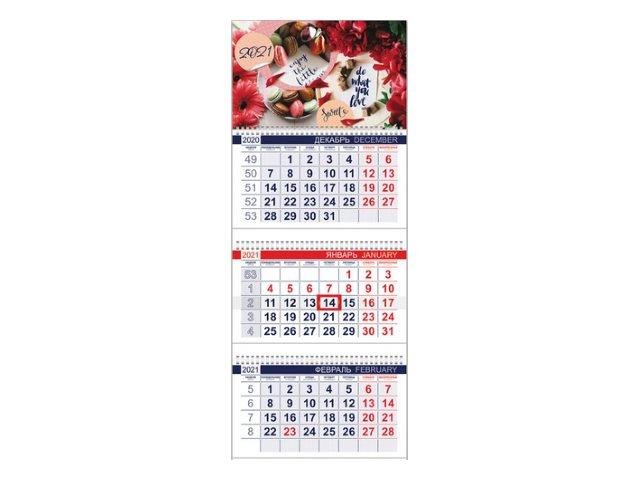 Календарь квартальный 2021 3-х блочный Hatber Сладкое настроение 3Кв1гр3_20551