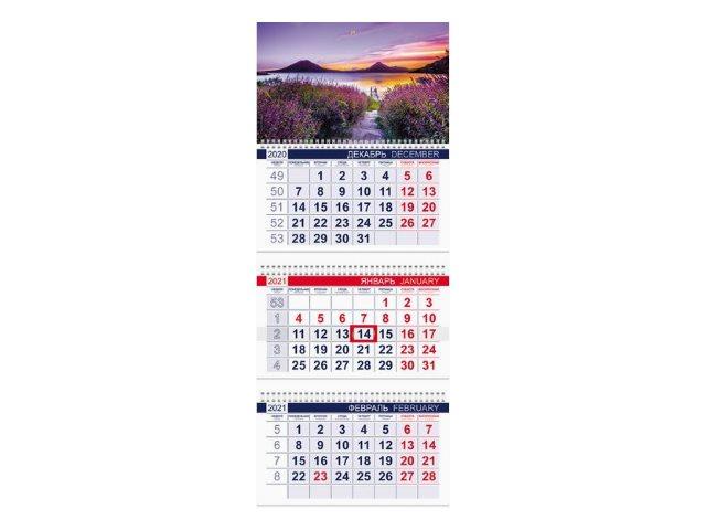 Календарь квартальный 2021 3-х блочный Hatber Дыхание природы 3Кв1гр3_23097
