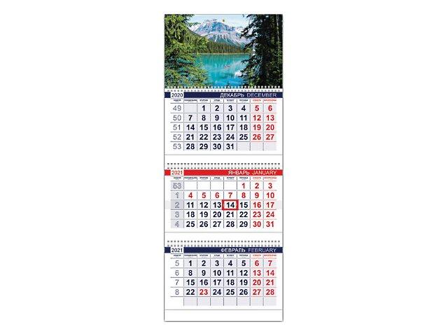 Календарь квартальный 2021 3-х блочный Hatber Горное озеро 3Кв1гр3_23500