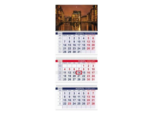 Календарь квартальный 2021 3-х блочный Hatber Уголок Европы 3Кв1гр3_23506