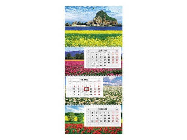Календарь квартальный 2021 3-х блочный Hatber Планета цветов 3Кв3гр3ц_23558