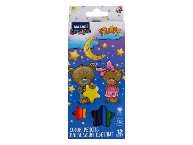 Карандаши цветные 12цв Mazari Fluffy шестигранные M-6138-12