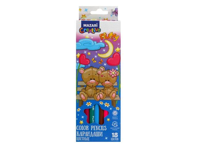 Карандаши цветные 18цв Mazari Fluffy шестигранные M-6138-18