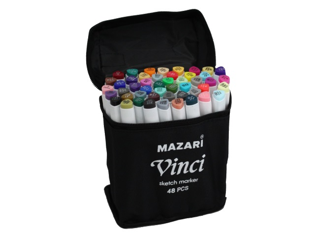 Маркеры для скетчинга  48 цв Mazari Vinci Main colors двусторонние 1.0-6.2мм M-15044-48