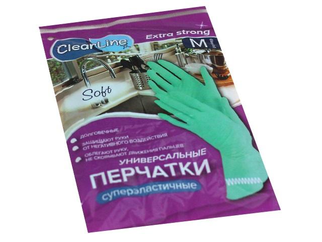 Перчатки резиновые Clear Line суперэластичные размер М