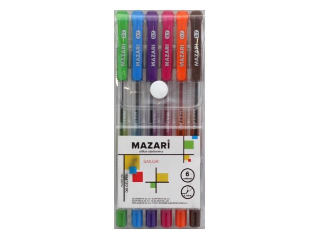 Ручка шариковая набор  6цв Mazari Sailor 0.7мм М-5700-6