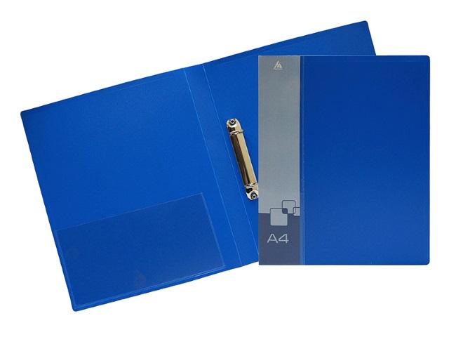 Папка 2 кольца А4 18мм d=16мм Бюрократ 0.7мм синяя с карманом 0812-2Rblue