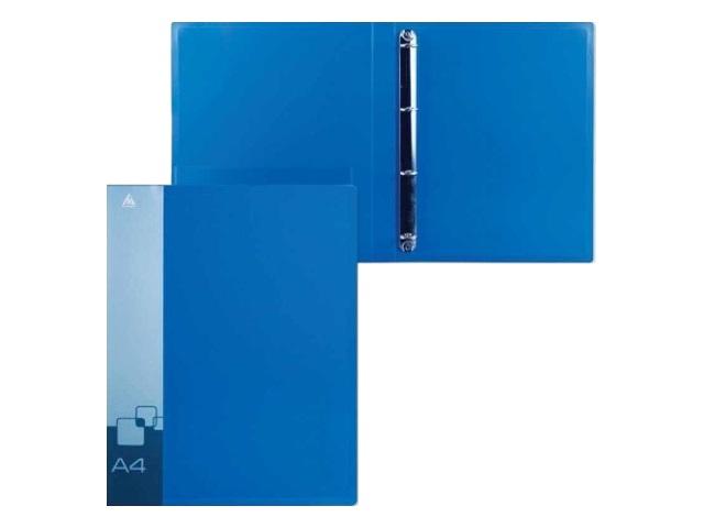 Папка 4 кольца А4 18мм d=16мм Бюрократ 0.7мм синяя с карманом 0818-4Rblue