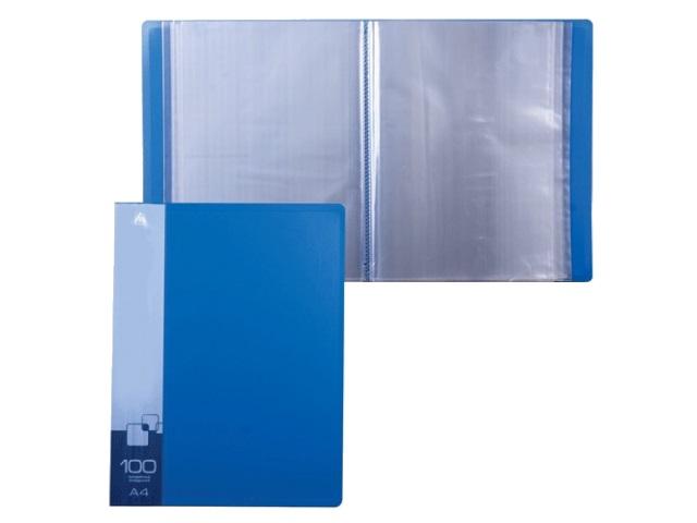 Папка с файлами 100ф А4 Бюрократ 0.8мм синяя BPV100blue