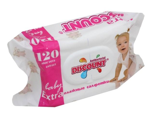 Салфетки влажные 120 шт. с клапаном Детские Алоэ вера Discount