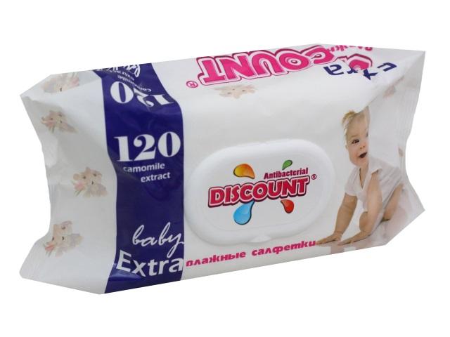 Салфетки влажные 120 шт. с клапаном Детские Ромашка Discount