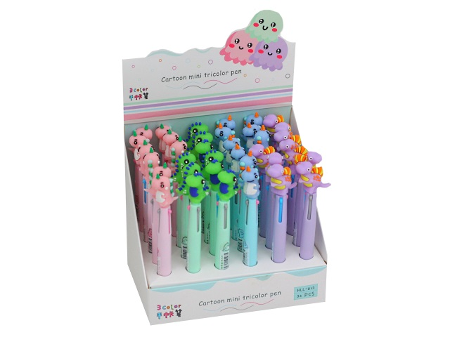 Ручка шариковая  3-х цветная автомат Basir Динозаврик HLL-013В\36