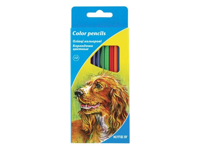 Карандаши цветные 12цв Kite Животные шестигранные K15-051К