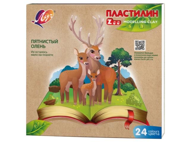 Пластилин 24 цвета Луч Zoo 360г 30С 1809-08