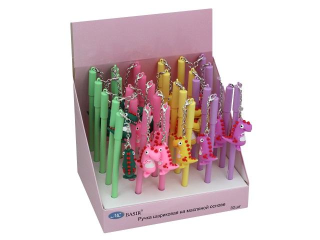 Ручка масляная детская Basir МС-5331Динозаврик синяя 0.5мм