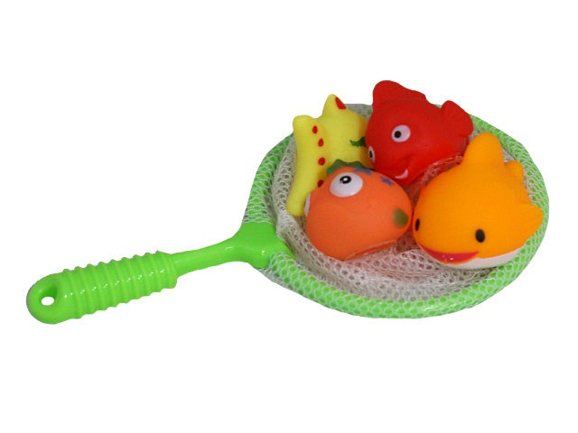 Игрушка для купания 4 шт. Рыбки с сачком Акварики M0954