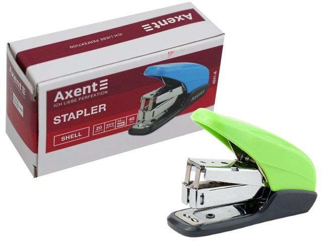 Степлер №24/6 20л мини Axent Shell пластик салатовый с антистеплером 4841-09-A