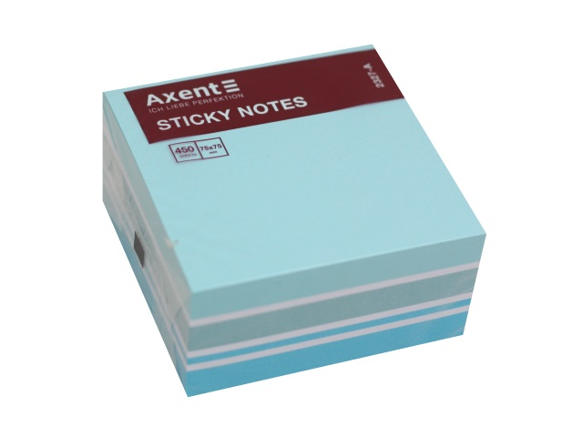 Стикер Axent 75* 75мм 450л 4 цвета голубой 2327-70-A