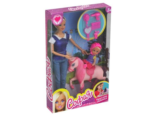 Кукла София 29см с малышкой на лошадке Карапуз B161-S-BO