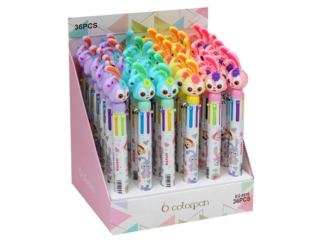 Ручка шариковая  5-ти цветная Mazari Friends 0.7мм M-7630\36