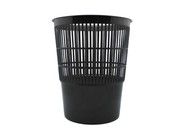 Корзина для бумаг пластик сетка круглая 14л черная 409803