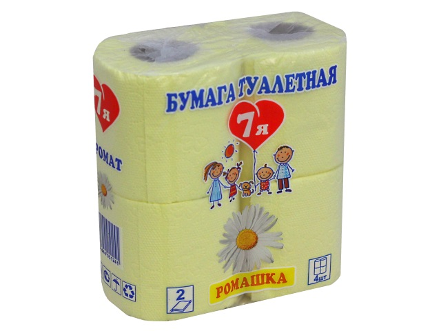 Бумага туалетная двухслойная 4 рулона 7Я Ромашка