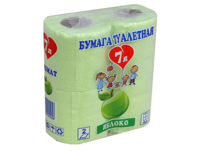 Бумага туалетная двухслойная 4 рулона 7Я Яблоко