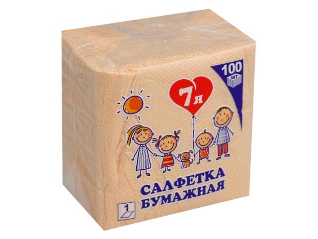 Салфетки бумажные  однослойные 100 шт. 7Я абрикосовые