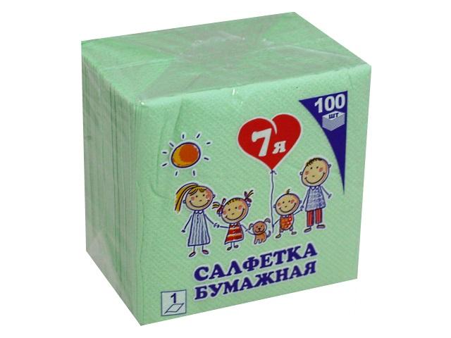 Салфетки бумажные  однослойные 100 шт. 7Я салатовые