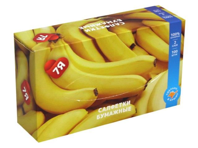 Салфетки косметические двухслойные 100 шт. 7Я Банан