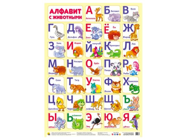 Обучающее пособие А2 Плакат Алфавит с животными Prof Press 28378