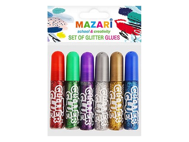 Клей с блестками 6 цветов по  6 мл Mazari М-5652